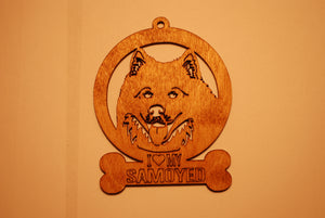 SAMOYED LASER CUT WOOD ORNAMENT