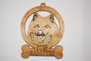 SAMOYED DOG LASER CUT WOOD ORNAMENT
