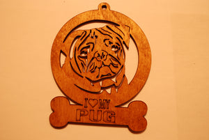 PUG LASER CUT ORNAMENT