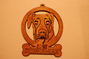 DOBERMAN LASER CUT Dog Ornament