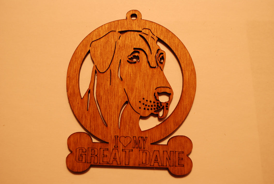 GREAT DANE LASER CUT Dog Ornament