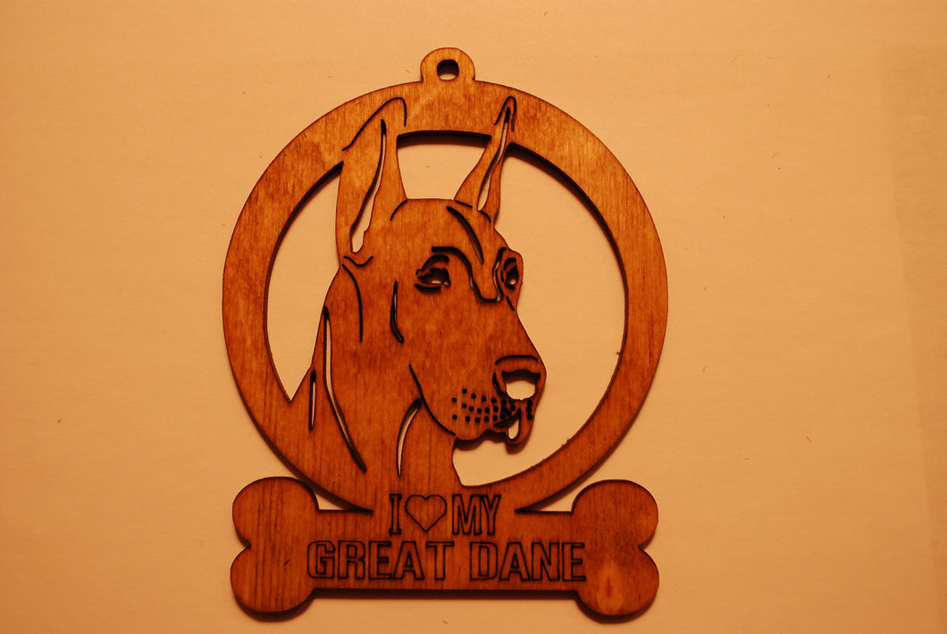 GREAT DANE 2 LASER CUT Dog Ornament