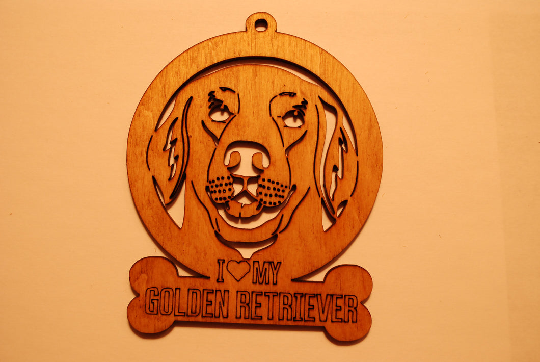 GOLDEN RETRIEVER LASER CUT Dog Ornament