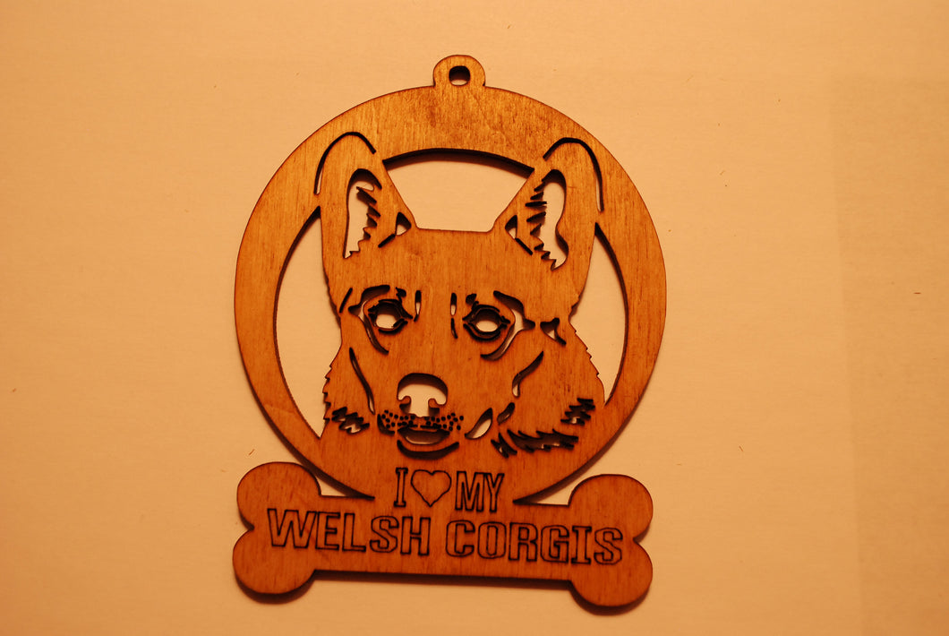 WELSH CORGIS LASER CUT Dog Ornament
