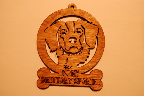 BRITTANY SPANIEL LASER CUT Dog Ornament