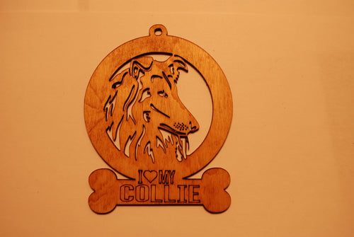 COLLIE LASER CUT Dog Ornament