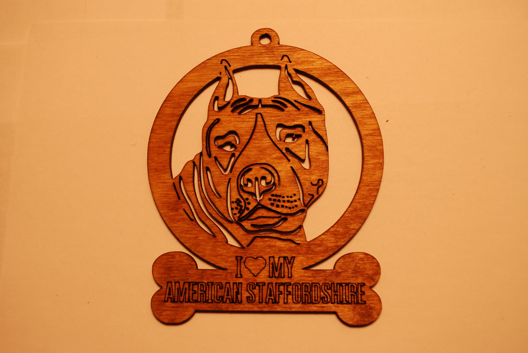 AMERICAN STAFFORDSHIRE LASER CUT Dog Ornament