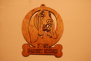 BASSET HOUND LASER CUT Dog Ornament