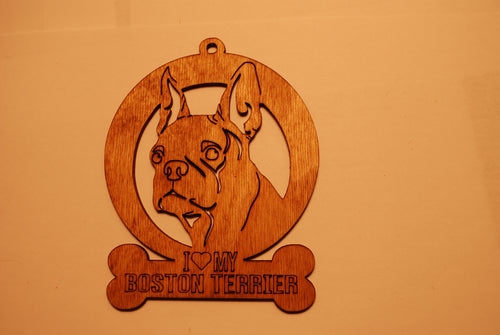 BOSTON TERRIER LASER CUT Dog Ornament