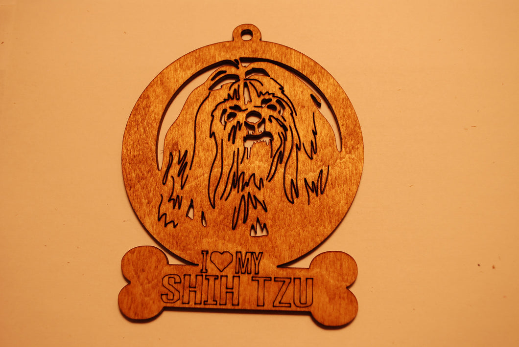 SHIH TZU LASER CUT Dog Ornament