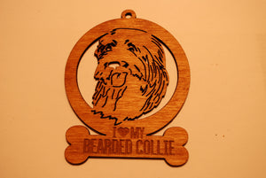 BEARDED COLLIE LASER CUT Dog Ornament