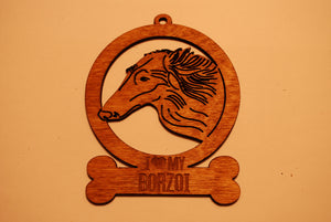 BORZOI  LASER CUT Dog Ornament