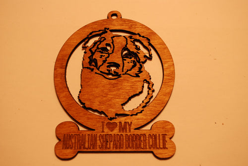 AUSTRALIAN SHEPARD BORDER COLLIE  LASER CUT Dog Ornament