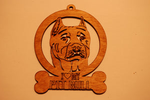 PIT BULL LASER CUT Dog Ornament