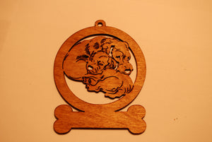2 DOGS CUDDLING LASER CUT Dog Ornament