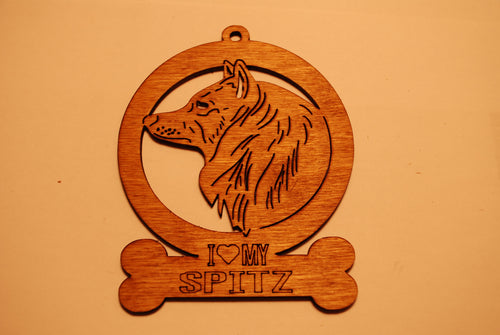 SPITZ LASER CUT Dog Ornament