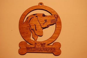 WEIMARANER LASER CUT Dog Ornament