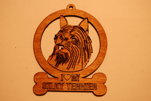 SILKY TERRIER  LASER CUT Dog Ornament