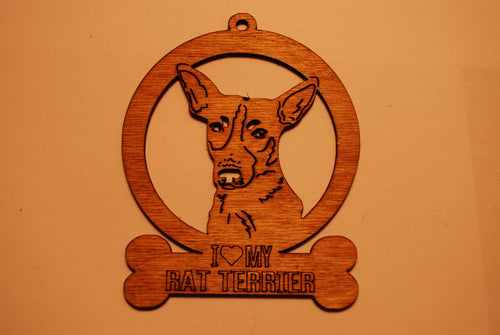 RAT TERRIER LASER CUT Dog Ornament