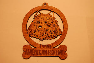 AMERICAN ESKIMO LASER CUT Dog Ornament