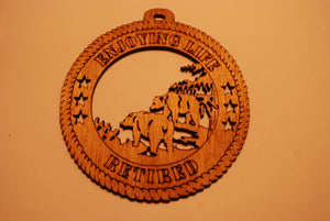 BEARS ENJOYING LIFE RETIRED LASER CUT ORNAMENT