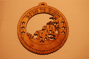 BEARS BORN TO HUNT LASER CUT ORNAMENT