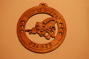 UNITED STATES SEABEE LASER CUT ORNAMENT
