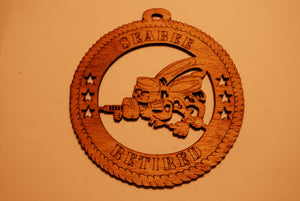 SEABEE RETIRED LASER CUT ORNAMENT