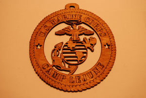 UNITED STATES MARINE CORPS CAMP LEJUNE LASER CUT ORNAMENT