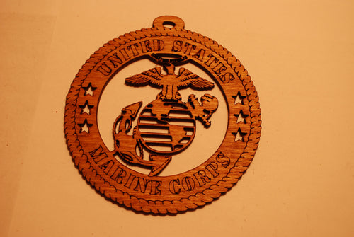 UNITED STATES MARINE CORPS LASER CUT ORNAMENT