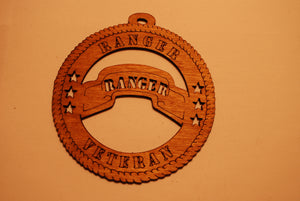 ARMY RANGER VETERAN LASER CUT ORNAMENT