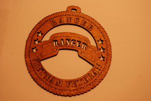 ARMY RANGER VIETNAM VETERAN LASER CUT ORNAMENT