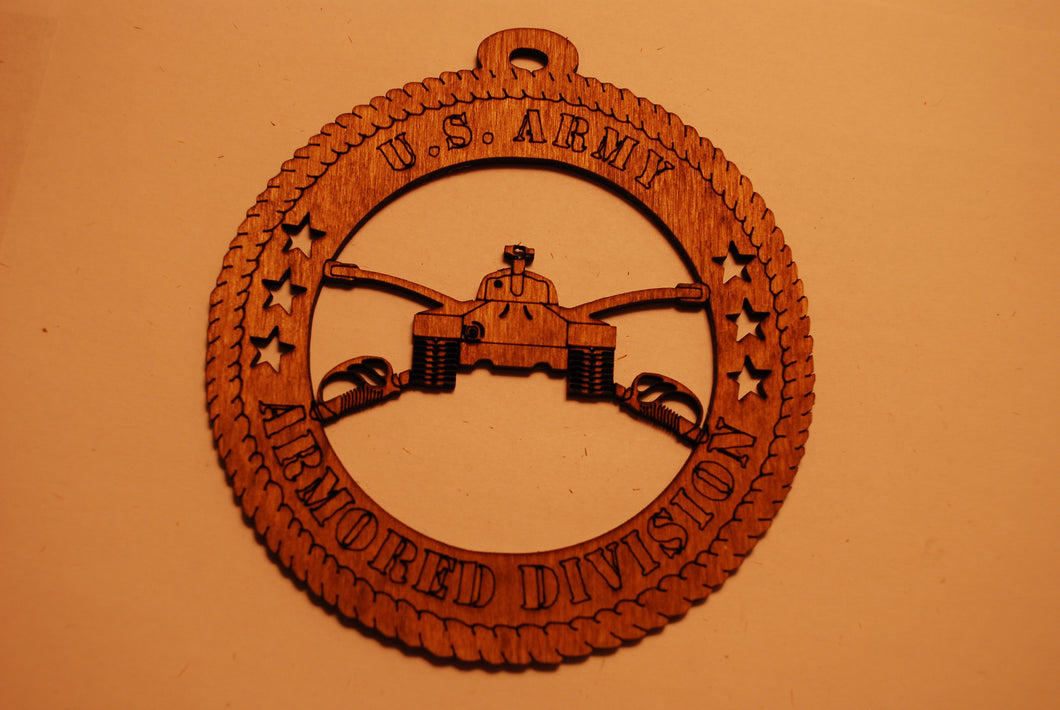 U.S. ARMORED DIVISION  LASER CUT ORNAMENT