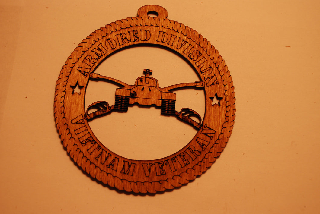 U.S. ARMORED DIVISION VIETNAM VETERAN LASER CUT ORNAMENT