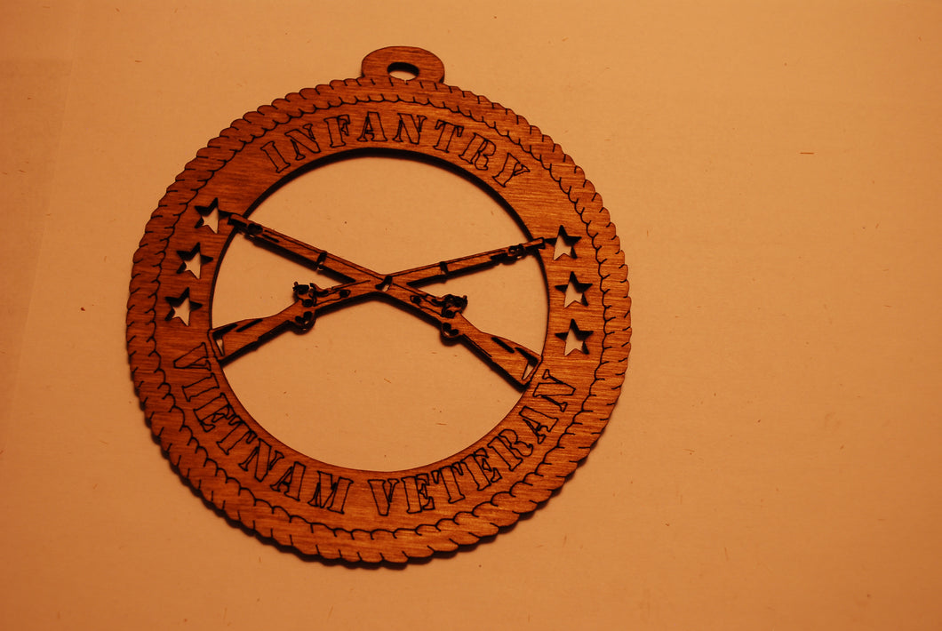 INFANTRY VIETNAM VETERAN LASER CUT ORNAMENT