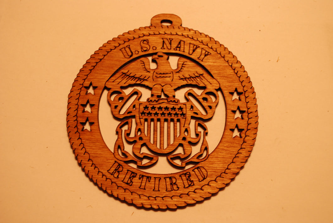 U.S. NAVY RETIRED LASER CUT ORNAMENT