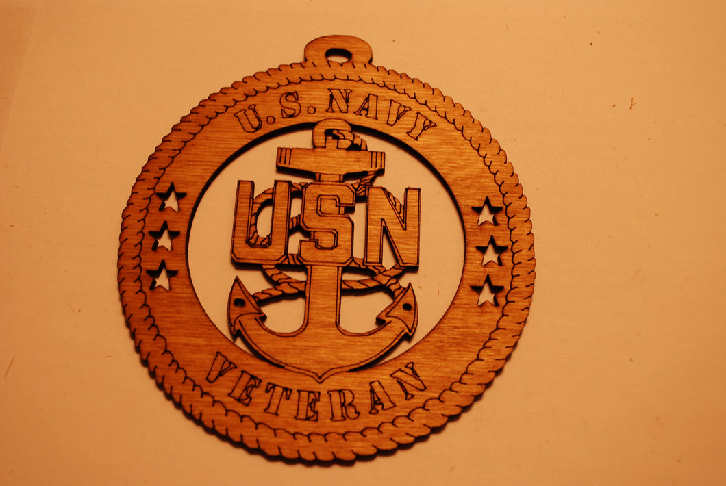 U.S. NAVY VETERAN LASER CUT ORNAMENT