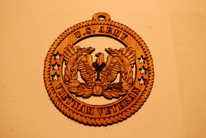 U.S. ARMY VIETNAM VETERAN  LASER CUT ORNAMENT