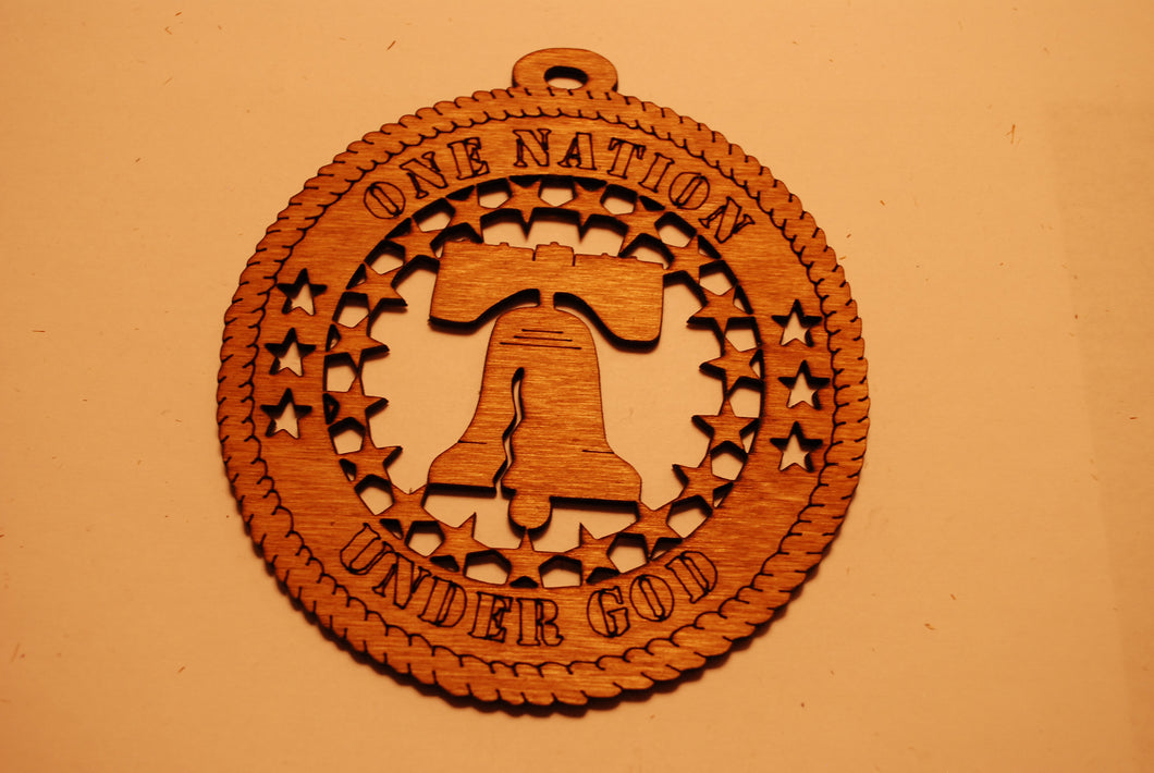 ONE NATION UNDER GOD LASER CUT ORNAMENT