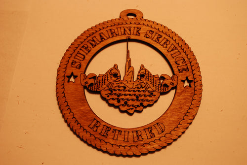 SUBMARINE SERVICE RETIRED LASER CUT ORNAMENT