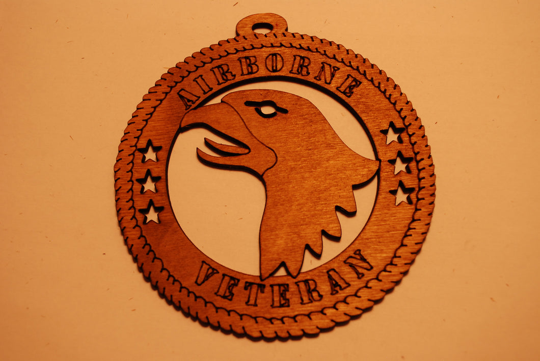 AIRBORNE VETERAN LASER CUT ORNAMENT