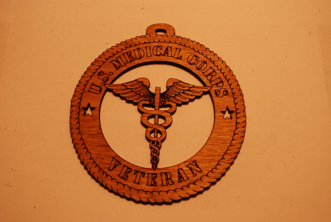 U.S. MEDICAL CORPS VETRAN LASER CUT ORNAMENT