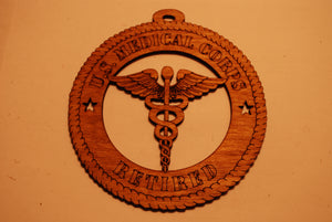 U.S. MEDICAL CORPS RETIRED LASER CUT ORNAMENT