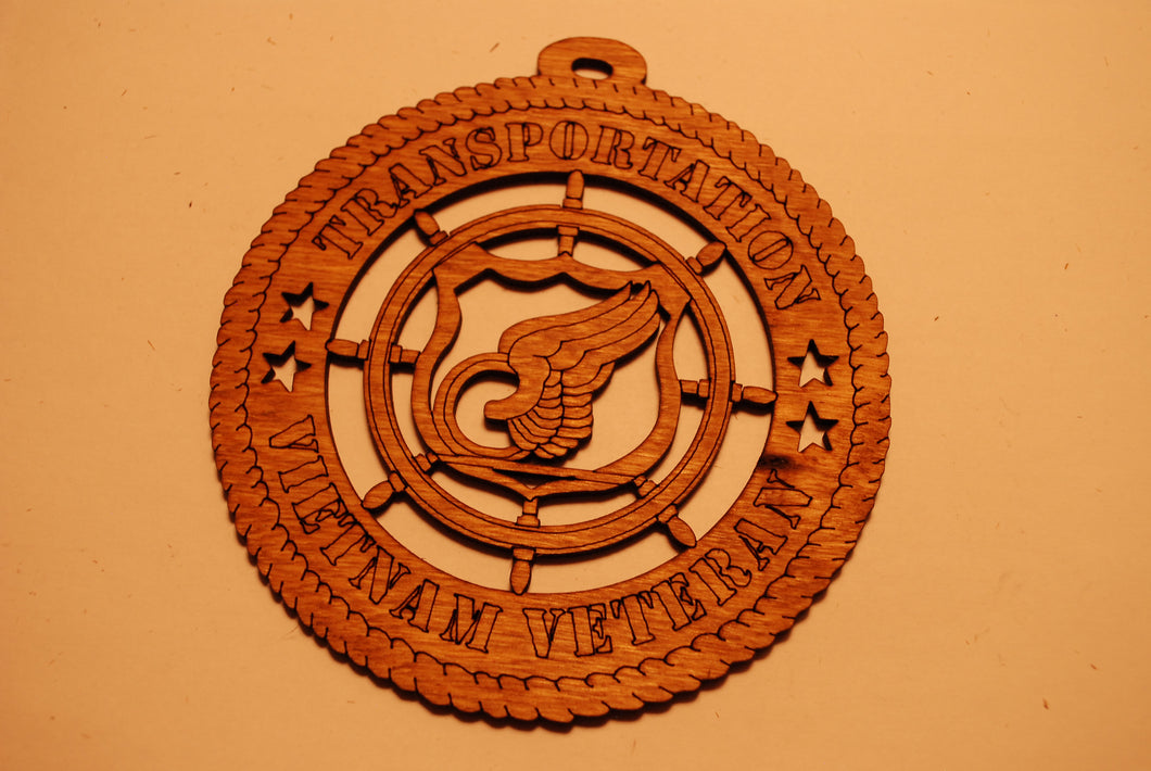 TRANSPORTATION VIETNAM VETERAN LASER CUT ORNAMENT