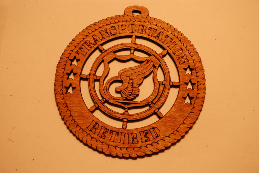TRANSPORTATION RETIRED LASER CUT ORNAMENT