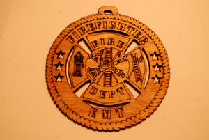 FIREFIGHTER PARAMEDIC LASER ORNAMENT