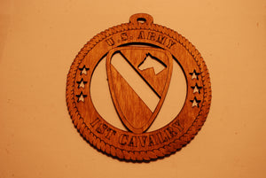 U.S. ARMY 1ST CAVALRY LASER ORNAMENT