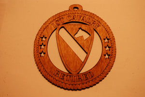 1ST CAVALRY RETIRED LASER ORNAMENT