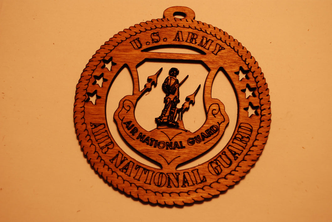 U.S. ARMY AIR NATIONAL GUARD RETIRED LASER ORNAMENT