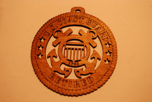 U.S. COAST GUARD RETIRED LASER ORNAMENT